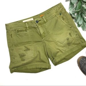 PILCRO | sz 26 green distressed hyphen shorts